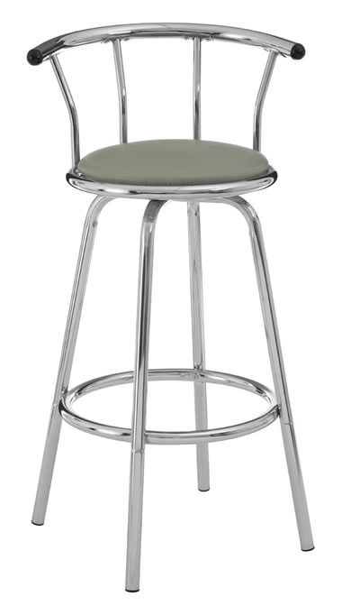 barbados kitchen breakfast bar stool white padded seat swivel chrome frame backrest