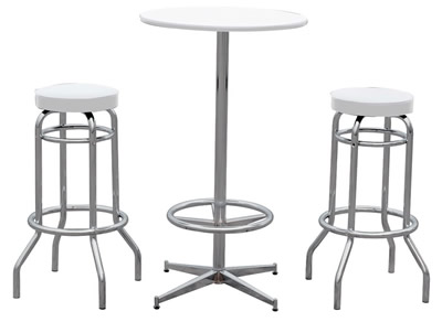 BAR RESTAURANT TABLE WHITE TOP 2 RETRO STOOL TEA COFFEE