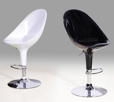 Agon Retro High Back Kitchen Bar Stool Chairs Fully Adjustable White or Black