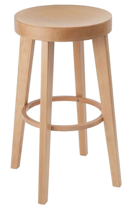Kagone natural beech kitchen breakfast bar stool fully assembled solid wood hand crafted with no back