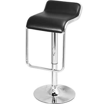 Bentwood Kitchen Stool black padded with unique chrome stainless steel foot rest height adjustable