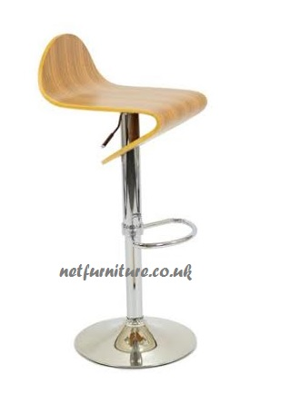 David Wood and Chrome Bar Stool - Swivel and Adjustable