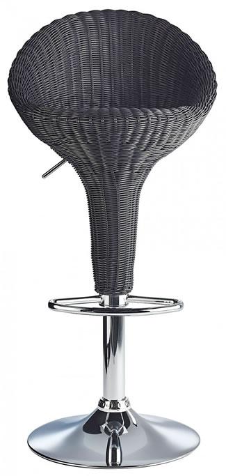 Blazone Black Rattan Style Modern Kitchen Bar Stool Height Adjustable