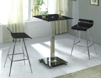 Sapine Black Glass Tall Kitchen Bar Table Chrome Column