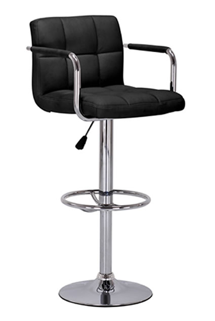 Zazy kitchen breakfast bar stool with armrests- Adjustable Black Faux Leather