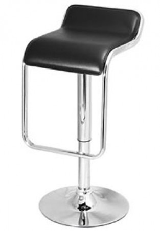Larred Black Padded Bar Stool with Chrome Footrest