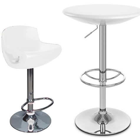 Treseni Height Adjustable Tall White Kitchen Table with Counter Bar Stool