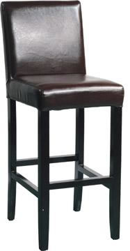traditional wooden bar stool with black padded seat and back rest