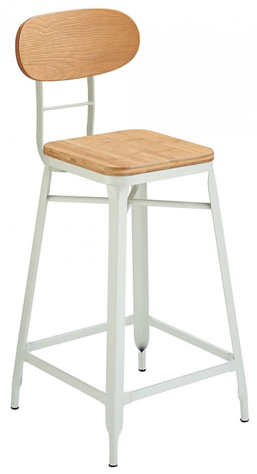 Fapone Farm House Style Kitchen Breakfast Bar Stool White and Oak