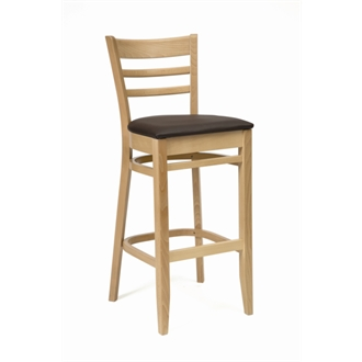 Cristo Wood Kitchen Bar Stool Natural Finish with Dark Brown Padded Seat Fully Assembled