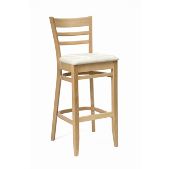 Cristo wood Frame Kitchen Bar Stool Natural Finish with Cream Padded Seat Fully Assembled