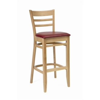 Cristo Wood Frame Kitchen Bar Stool  Natural Finish with Red Padded Seat Fully Assembled