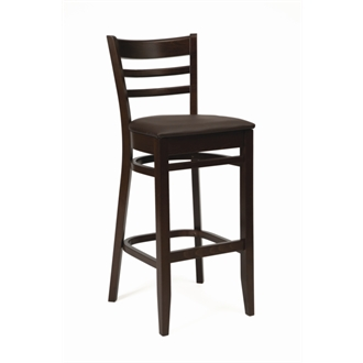 Tristan Kitchen Bar Stool Walnut and Dark Brown Seat Pad Fully Assembled