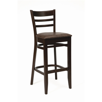 Tristan Kitchen Breakfast Bar Stool Walnut Frame and Mottle Brown Seat Pad Fully Assembled