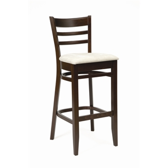Tristan Bar Stool Walnut Frame and Cream Seat Pad Fully Assembled