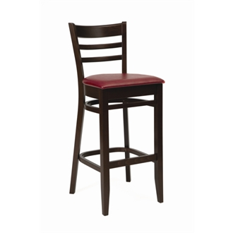 Tristan Wood Frame Kitchen Bar Stool - Walnut with Red Seat Pad Fully Assembled