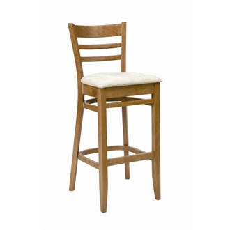 Tritonal Kitchen Bar Stool Oak with Cream Seat Pad Fully Assembled