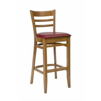 Tritonal Wooden Kitchen Bar Stool Oak with Red Seat Pad Fully Assembled