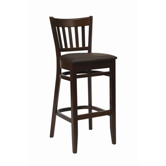 Helen Walnut Frame Kitchen Bar Stool with Padded Dark Brown Seat Fully Assembled