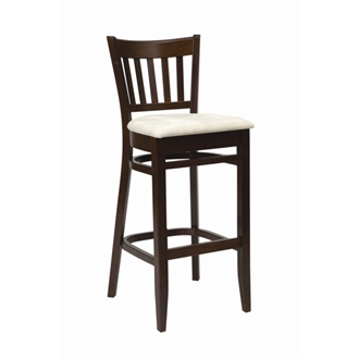 Helen Wood Walnut Frame Kitchen Bar Stool with Cream Padded Seat Fully Assembled
