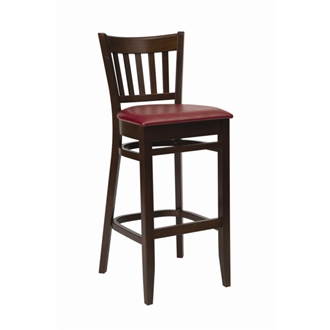 Helen Walnut Frame Kitchen Bar Stool with Red Padded Seat Fully Assembled