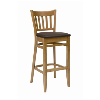 Aly Oak Frame Kitchen Bar Stool with Seat Brown Padded Seat Fully Assembled