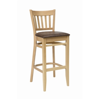 Aly Oak Wooden Kitchen Bar Stool with Brown Padded Seat Pad Fully Assembled