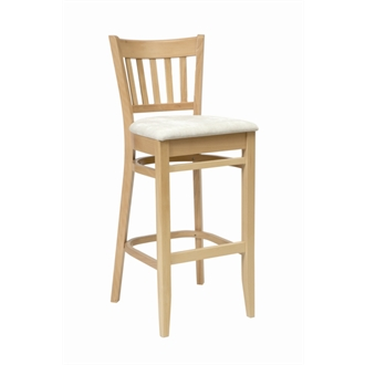 Aly Wooden Breakfast Bar Stool with Cream Padded Seat Fully Assembled