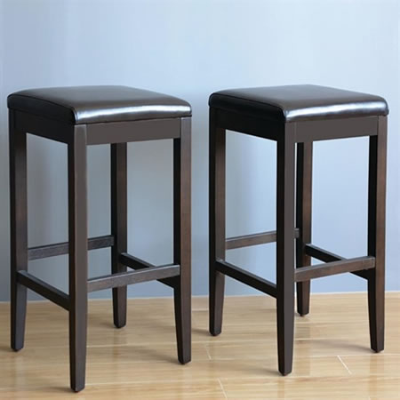 Pair of Mila Brown Padded Stool - Faux Leather and Wood Fully Assembled