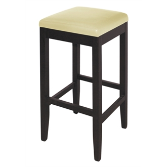 Pair of Hew Cream Padded Stool - Wood and Faux Leather Fully Assembled