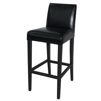 Tania Kitchen Bar Stool Wood and Black Faux Leather Fully Assembled