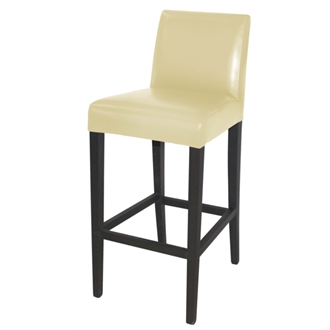Tania Cream Bar Stool Wood and Faux Leather Fully Assembled