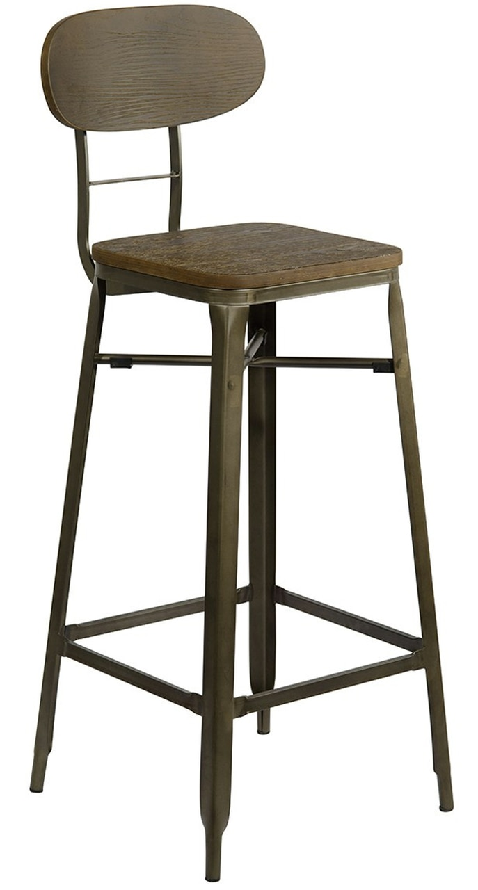 Feponi Rustic Industrial Style Swivel and Height Adjustable Kitchen Breakfast Bar Stool