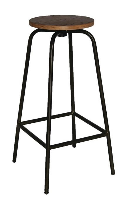Salerio Urban Wood and Metal High Kitchen Breakfast Bar Stool Fully Assembled Industrial aged urban look style