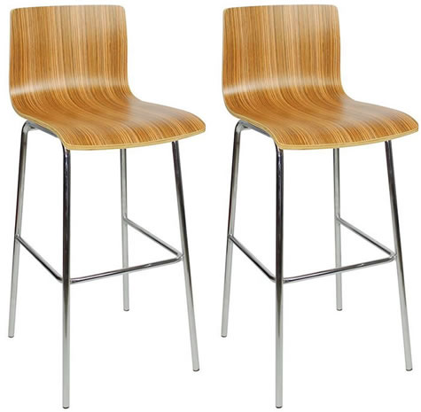 Aluminium and Teak High stool - Indoor/Outdoor