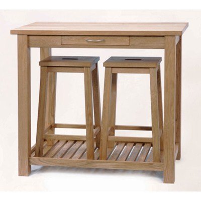 Cam Solid Oak Bar Table and 2 Stowaway Stools
