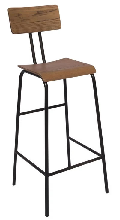 Falerio Wood and Metal High Kitchen Breakfast Bar Stool With Back Fully Assembled Industrial aged urban look style