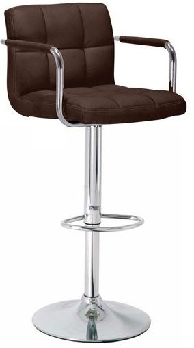 Zazy Kitchen Breakfast Bar Stool - Adjustable Brown Padded Back With Arms
