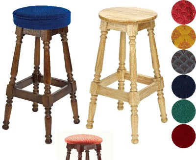 Tamara Wood Bar Stool Padded or Unpadded Seat Option Fully Assembled