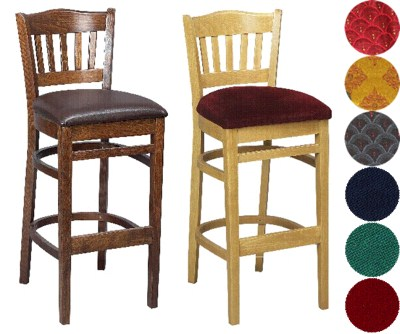 Henry Wood Kitchen Breakfast Bar Stool Padded or Unpadded Option Fully Assembled