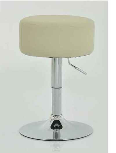 Low Bar Stool - Cream Padded Seat Height Adjustable