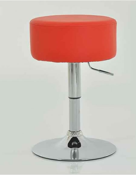 Low Bar Kitchen Stool - Red Padded Seat Height Adjustable