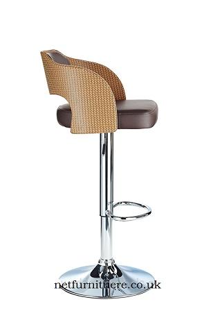 Agadir Ratan Height Adjustable Bar Stool with padded seat