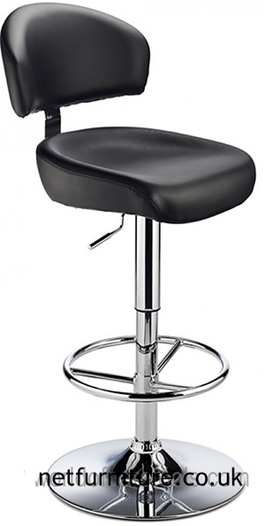 Jamaica Height Adjustable Bar Stool - with black faux leather padded seat