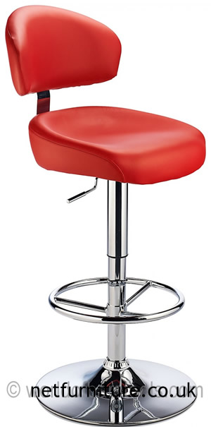 Jamaica Height Adjustable Bar Stool - with red faux leather padded seat