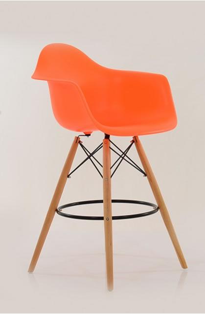 Alione Daw Style Retro Kitchen Breakfast Bar Stool Orange Seat