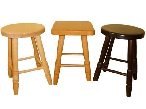 Carsoni low small wooden kitchen breakfast bar stool natural beech, oak, walnut alder Fully Assembled