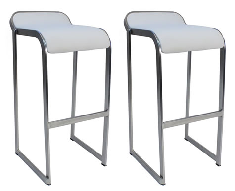 Caperon Pair of Kitchen Bar Stools White Seat Fixed Height Padded Seat Brushed Chrome Frame