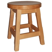 Balmeno Wooden Low Bar Stool Natural Finish Pair of 2 Fully Assembled
