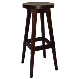 Balmeno Walnut Finish Wooden High Bar Stool  Pair of 2 Fully Assembled